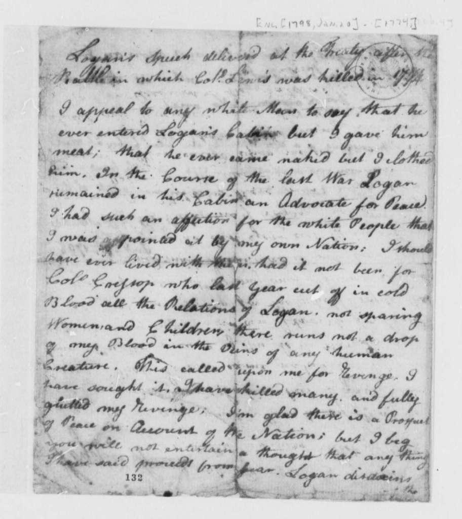 Stevens T. Mason Chief Logan, January 20, 1798, Speech