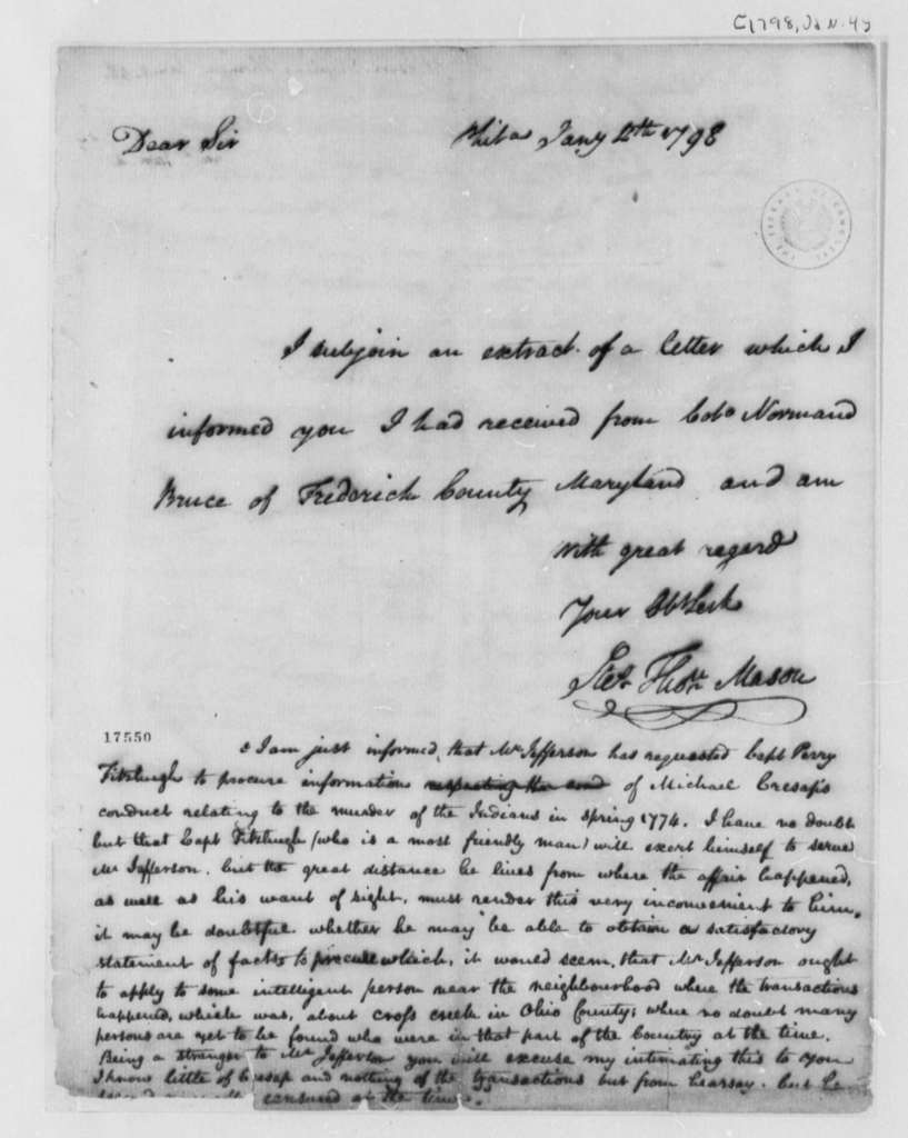 Stevens T. Mason to Thomas Jefferson, January 4, 1798, with Bruce's Reply