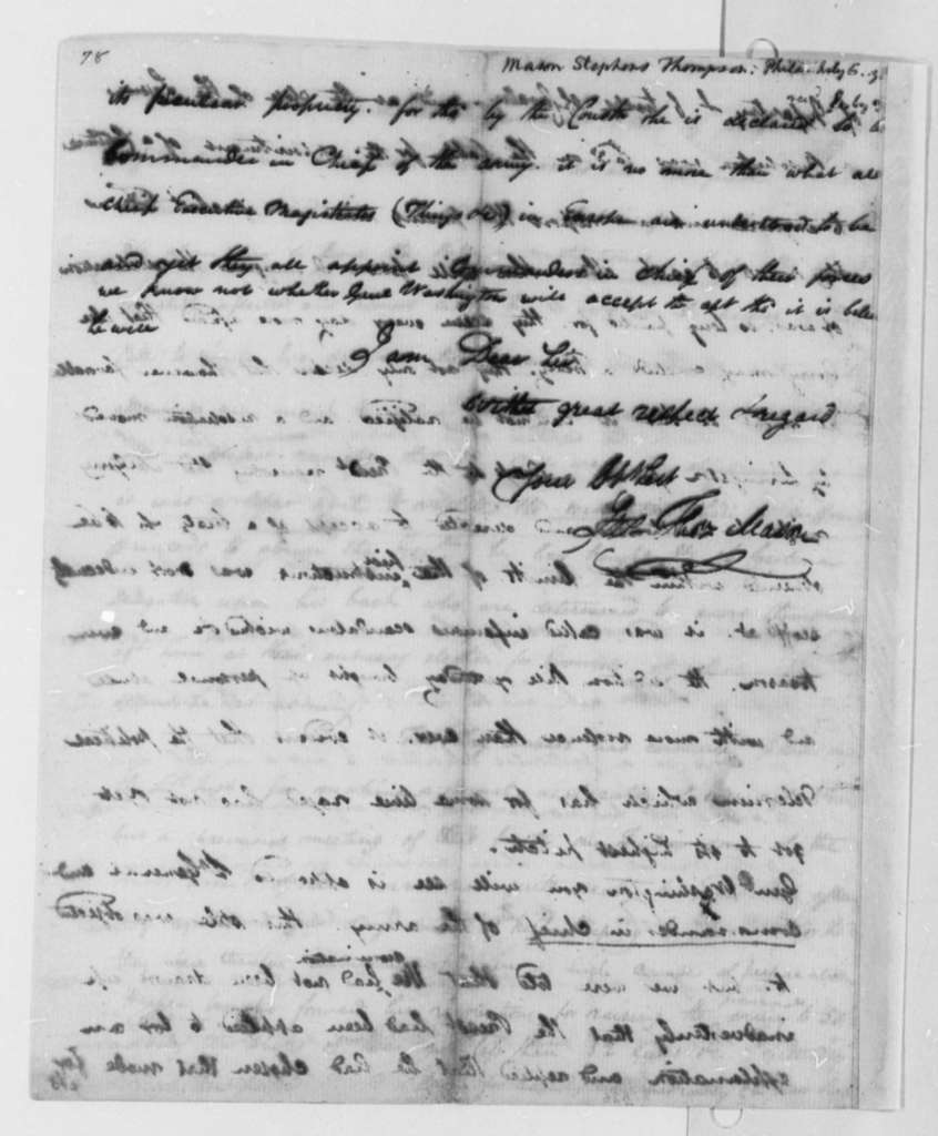 Stevens T. Mason to Thomas Jefferson, July 6, 1798