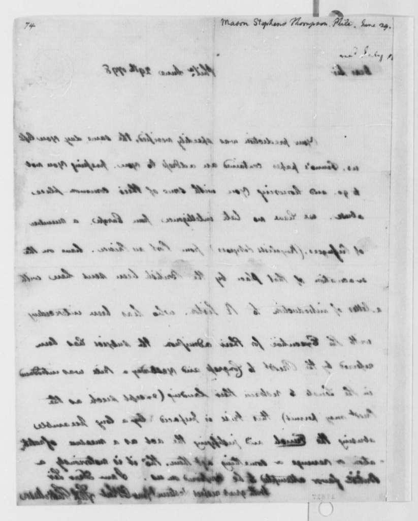Stevens T. Mason to Thomas Jefferson, June 29, 1798