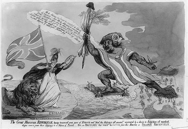 The Great monster, Republican, having traversed great part of Europe--but see Britania [sic] and roused her lion to give this monster, a proper reception