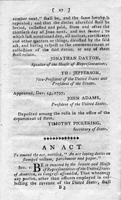 The several acts relative to the stamp duties, passed at the late and present sessions of Congress, and which will become payable from and after the first day of July, 1798. To which is added, a table of the several duties, by which they may be seen at one view