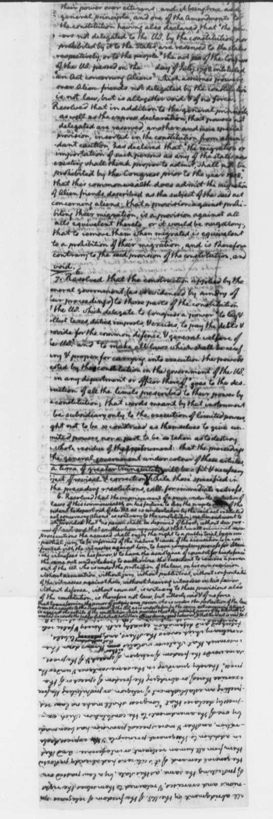 Thomas Jefferson, July 1798, Alien Protection Draft