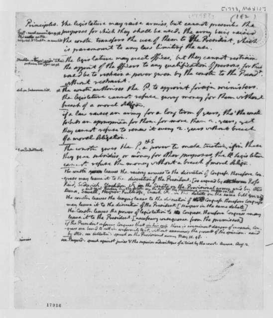 Thomas Jefferson, May 10, 1798, Principles Armies