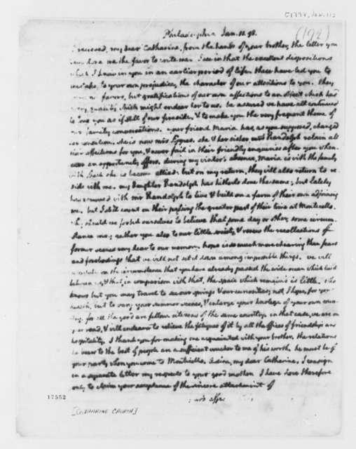 Thomas Jefferson to Catharine Church, January 11, 1798