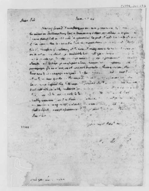 Thomas Jefferson to Edward Livermore, January 29, 1798, Partly Illegible