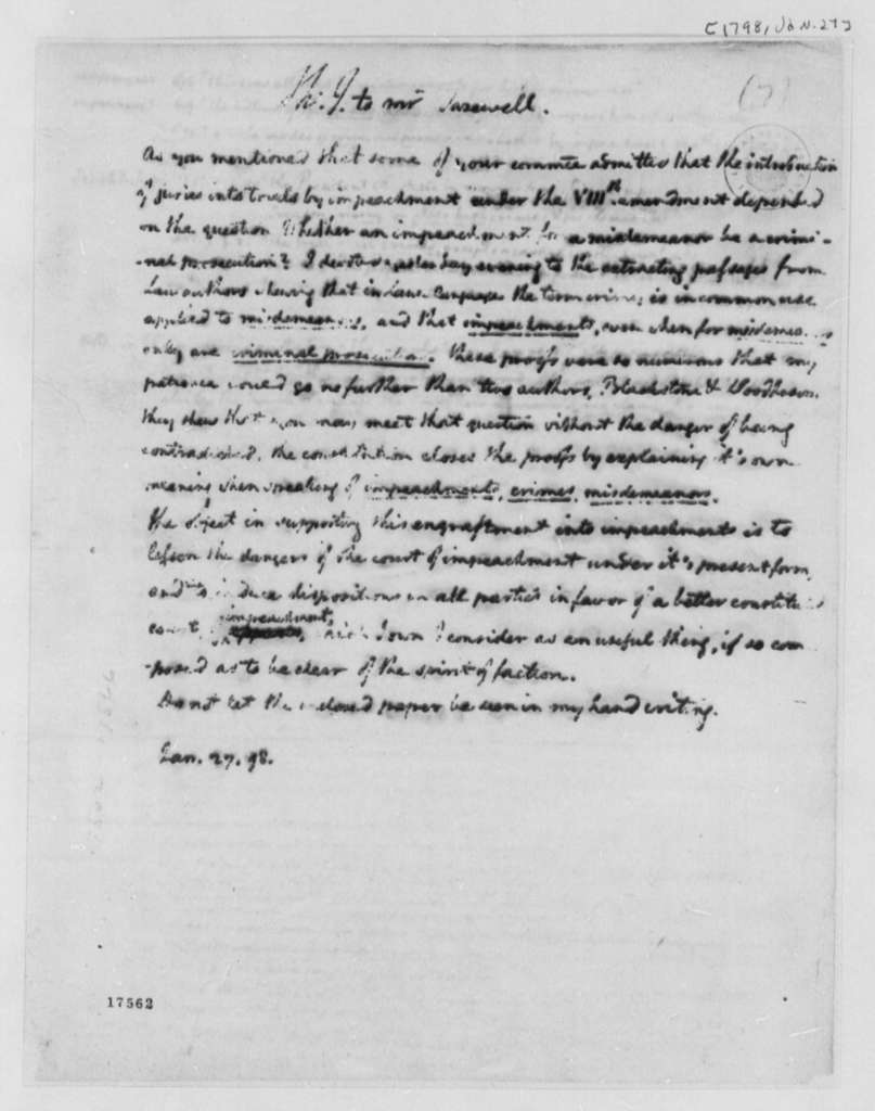 Thomas Jefferson to Henry Tazewell, January 27, 1798, with Statements