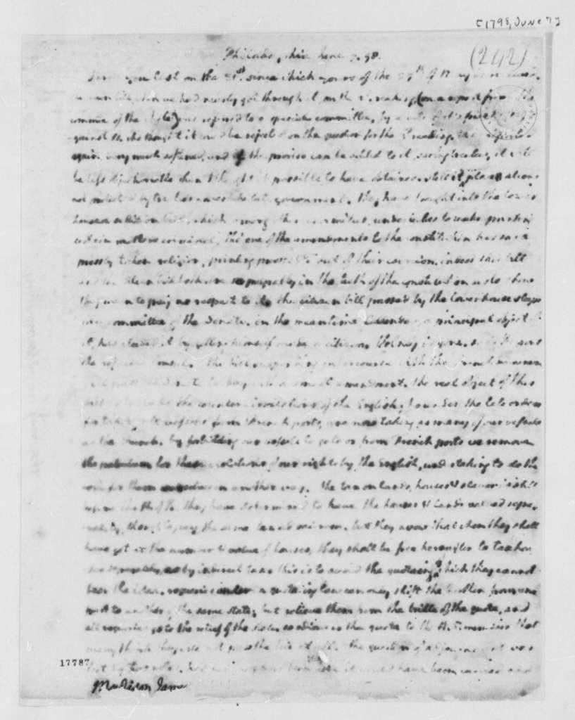 Thomas Jefferson to James Madison, June 7, 1798