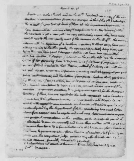 Thomas Jefferson to James Monroe, April 19, 1798