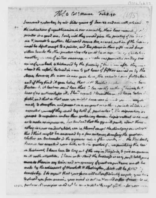Thomas Jefferson to James Monroe, February 8, 1798