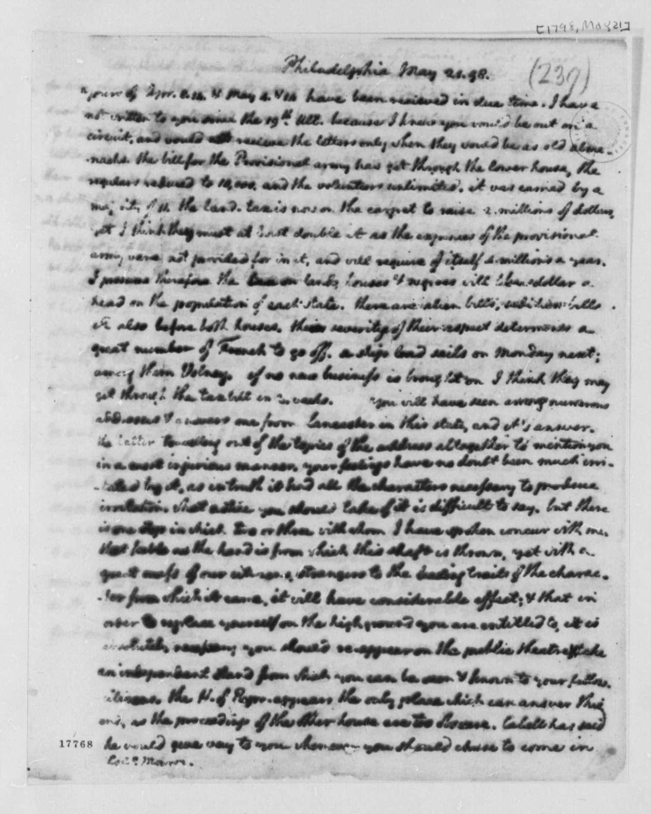 Thomas Jefferson to James Monroe, May 21, 1798