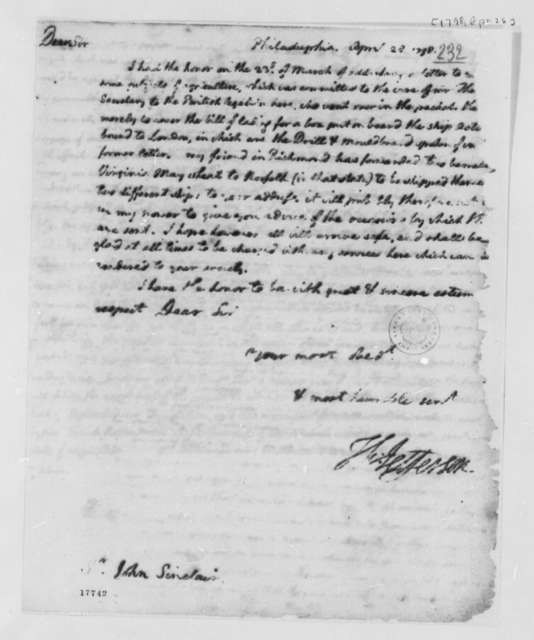 Thomas Jefferson to John Sinclair, April 28, 1798