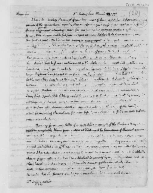 Thomas Jefferson to John Sinclair, March 23, 1798, Partly Illegible