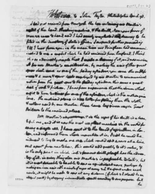 Thomas Jefferson to John Taylor, April 6, 1798, with Design