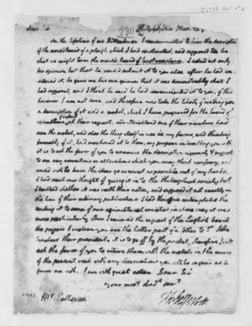 Thomas Jefferson to Robert Patterson, March 27, 1798