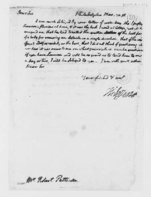 Thomas Jefferson to Robert Patterson, March 30, 1798