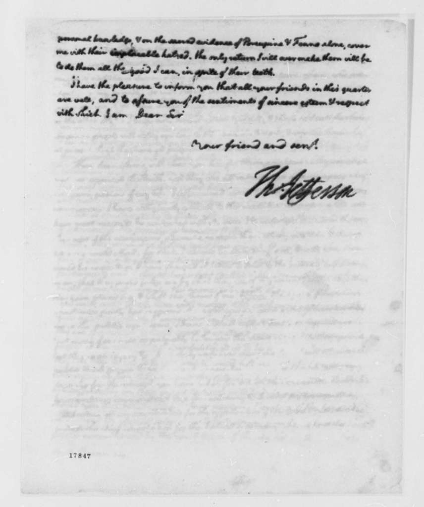 Thomas Jefferson to Samuel Smith, August 22, 1798, with Draft