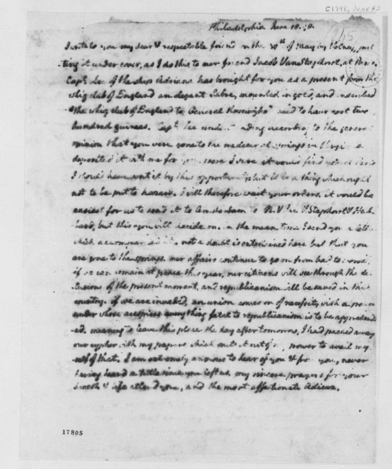 Thomas Jefferson to Thaddeus Kosciuszko, June 18, 1798, Fragment