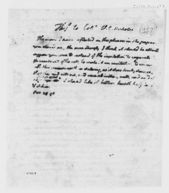 Thomas Jefferson to Wilson Cary Nicholas, November 29, 1798