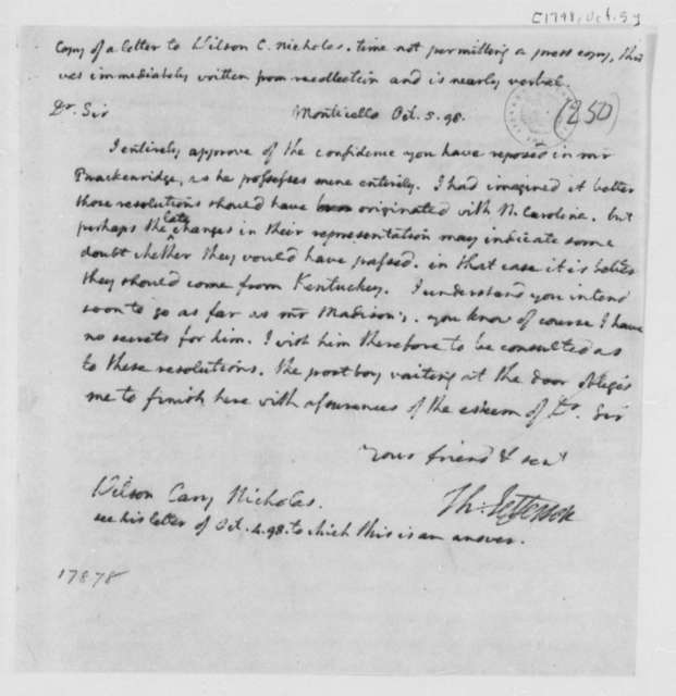 Thomas Jefferson to Wilson Cary Nicholas, October 5, 1798