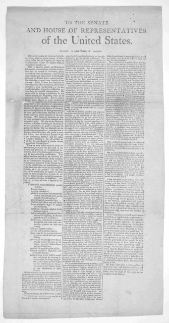 To the Senate and House of representatives of the United States. We whose names are hereunto subscribed, being citizens of the county of Albermarle in the state of Virginia, are urged by consideration which we cannot resist to remonstrate as fol