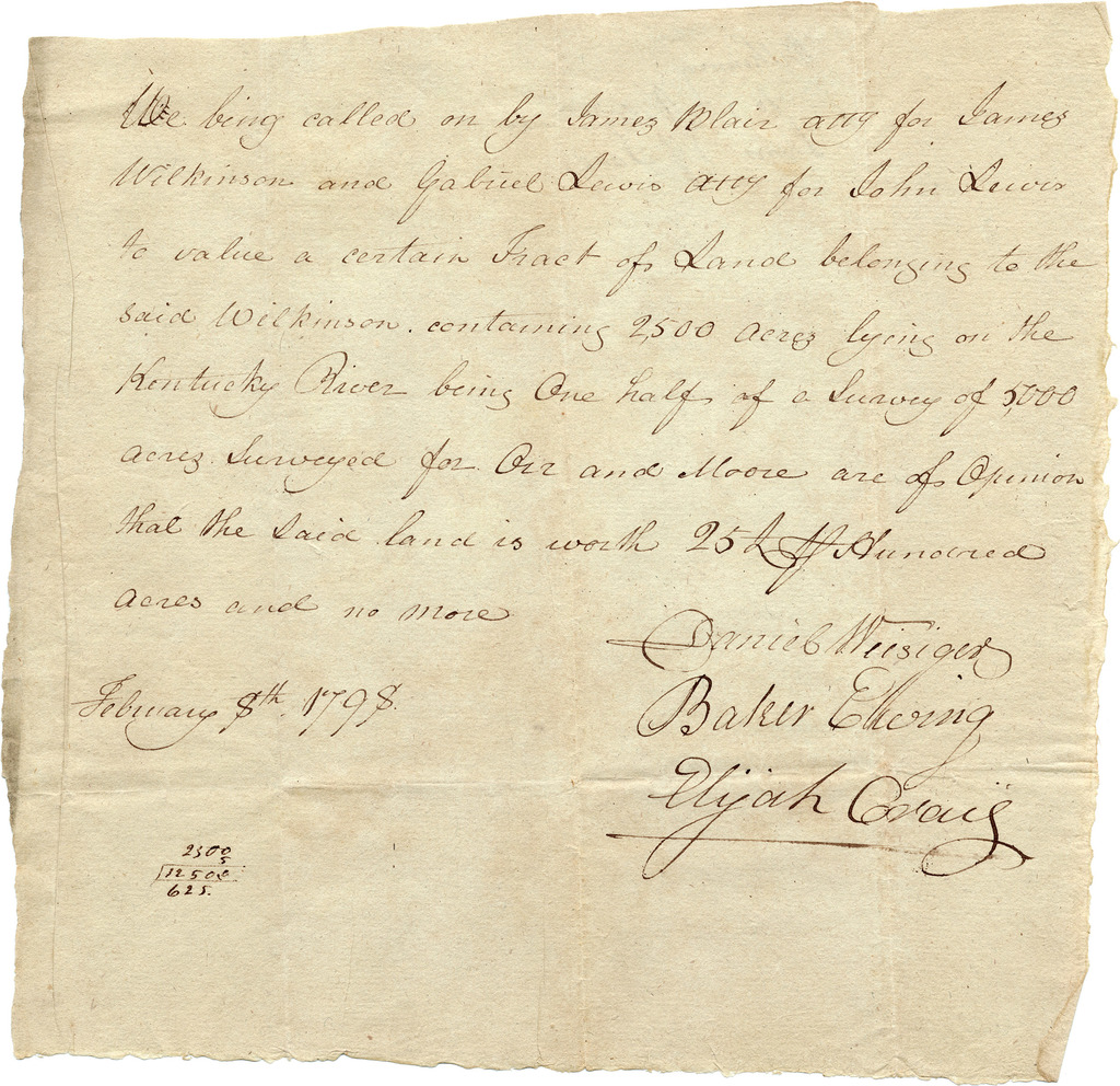 Valuation of land owned by James Wilkinson and Ann Biddle Wilkinson