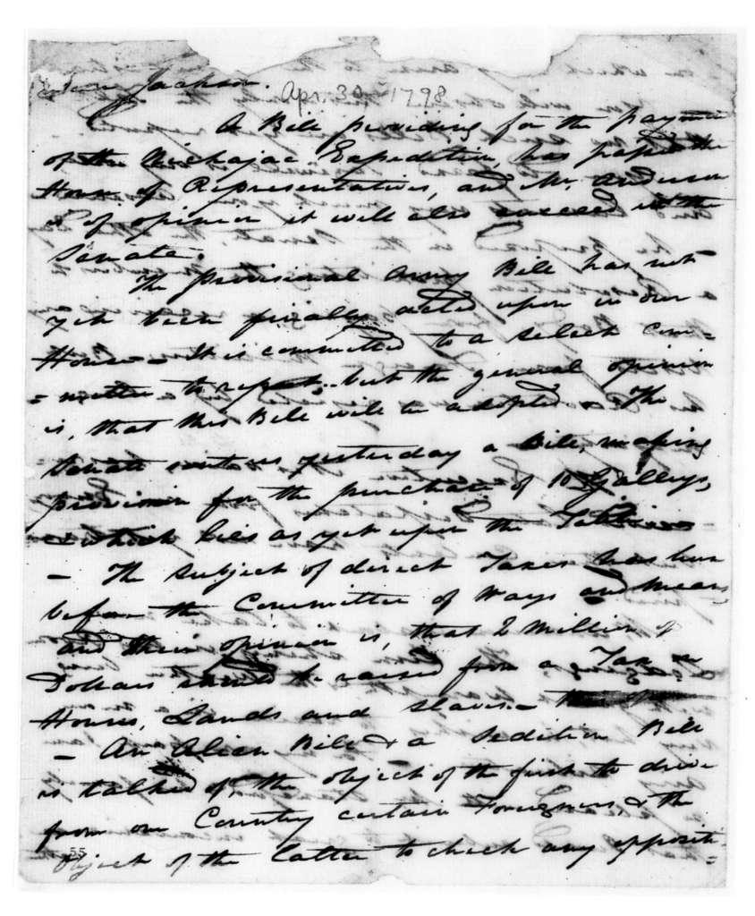 William Charles Cole Claiborne to Andrew Jackson, April 30, 1798