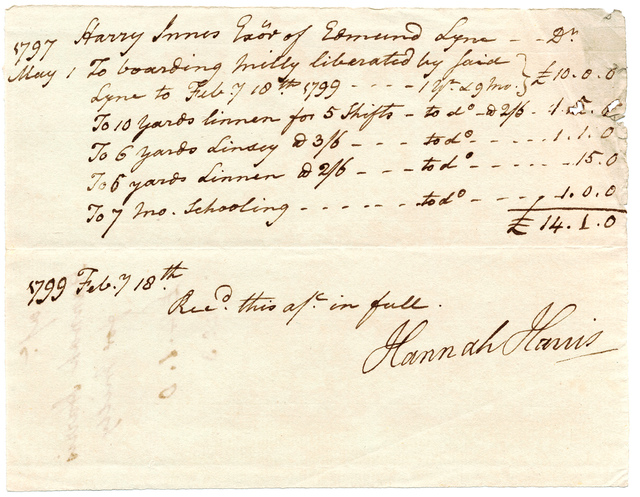 Bill and receipt from Hannah Harris for the maintenance of Mill[e]y, an emancipated African American child