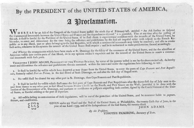 """By the President of the United States of America, a proclamation. Whereas by an Act of Congress of the United States passed the ninth day of February last, entitled """"An act further to suspend the commercial intercourse between the United States"""