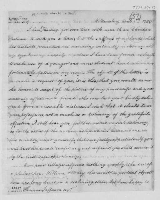 Charles Bellini to Thomas Jefferson, April 1, 1799