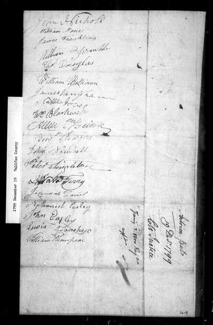 December 19, 1799, Halifax, Vestry of Antrim Parish, opposed to sale of glebe.