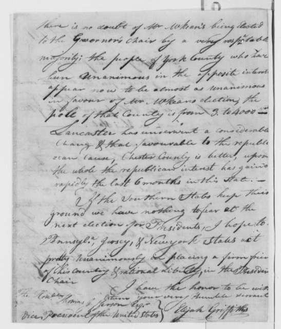 Elijah Griffiths to Thomas Jefferson, August 4, 1799