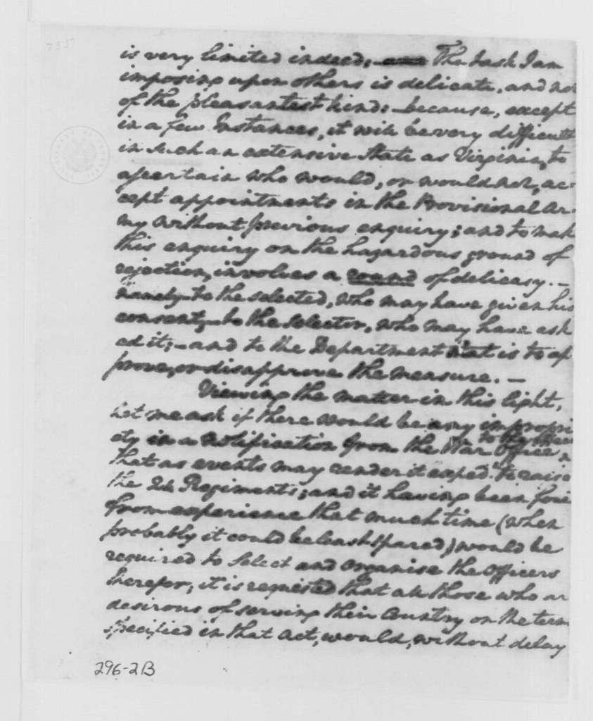 George Washington Papers, Series 4, General Correspondence: George Washington to James McHenry, May 13, 1799