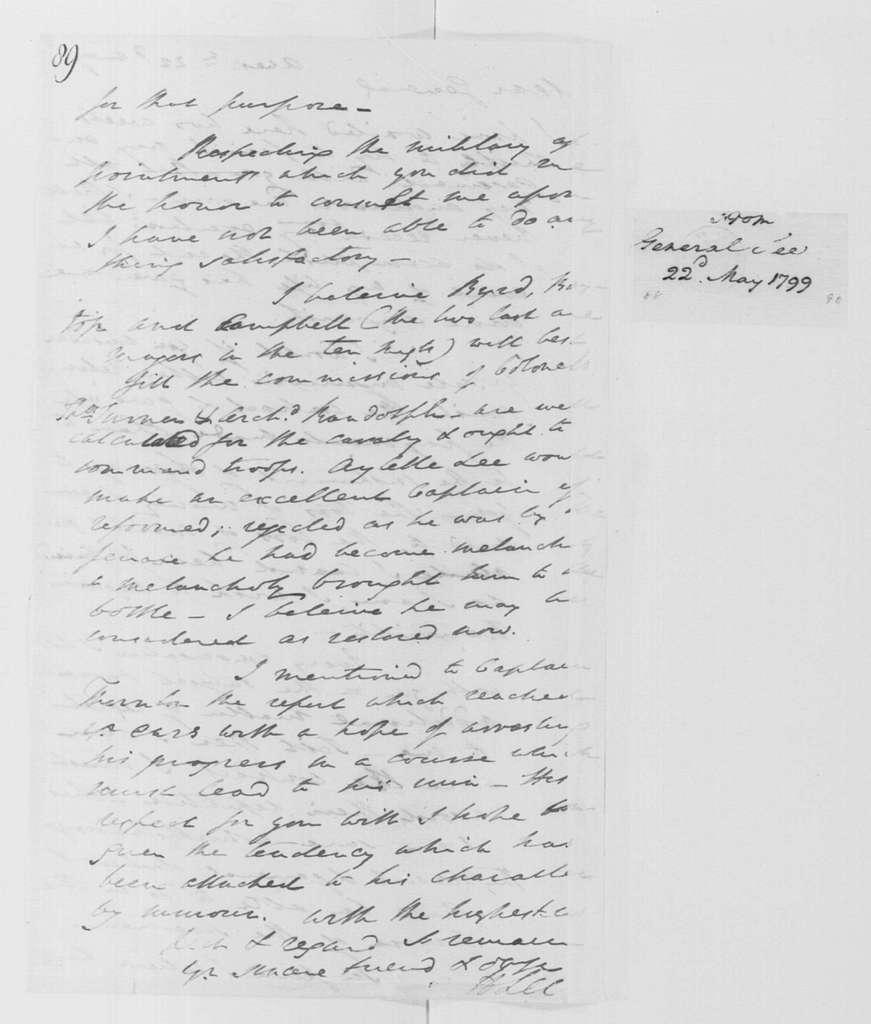 George Washington Papers, Series 4, General Correspondence: Henry Lee to George Washington, May 22, 1799