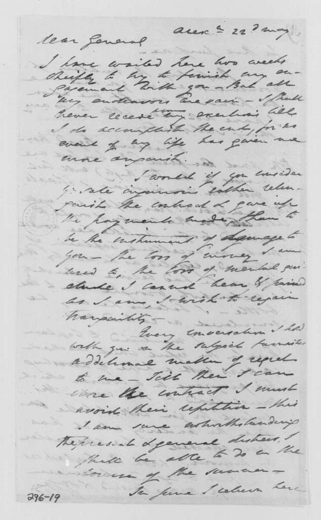 George Washington Papers, Series 4, General Correspondence: Henry Lee to George Washington, May 22, 1799