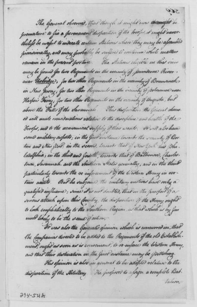 George Washington Papers, Series 4, General Correspondence: James McHenry to Alexander Hamilton, February 4, 1799