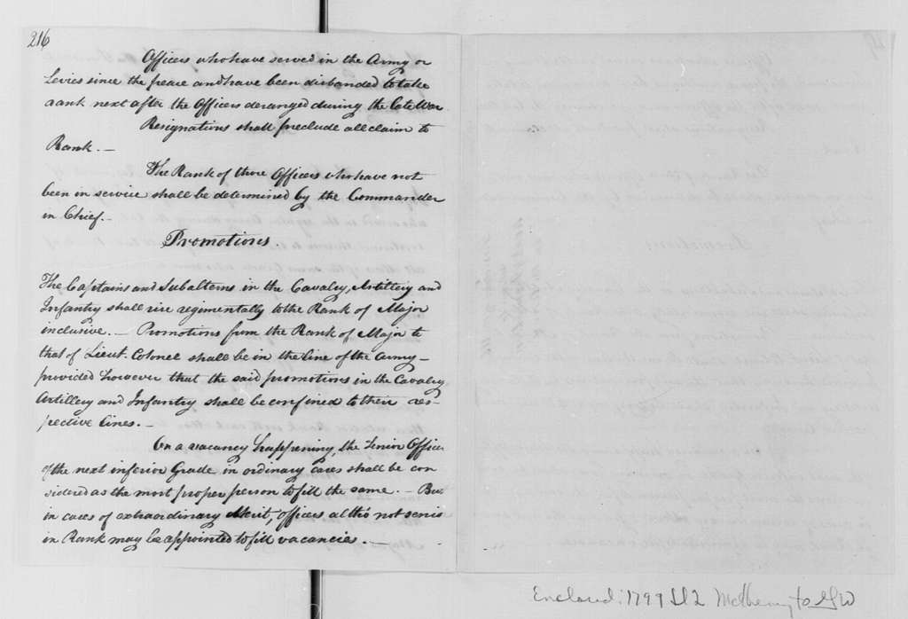 George Washington Papers, Series 4, General Correspondence: James McHenry to George Washington, July 2, 1799, with Rules of Rank and Promotion