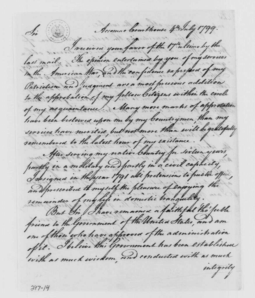 George Washington Papers, Series 4, General Correspondence: John Cropper to George Washington, July 4, 1799