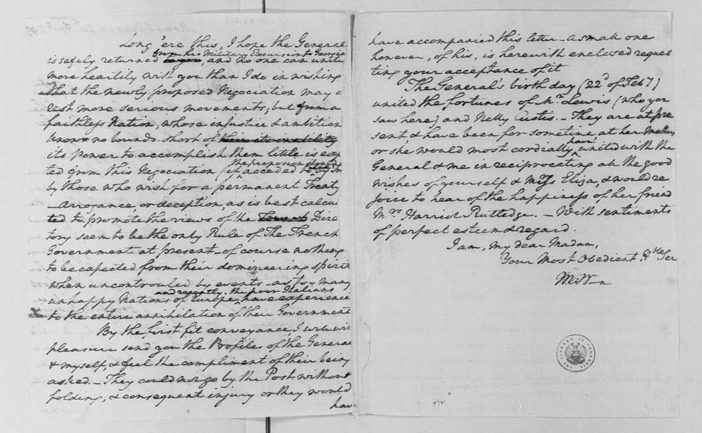 George Washington Papers, Series 4, General Correspondence: Martha Custis Washington to Mary Pinckney, April 20, 1799