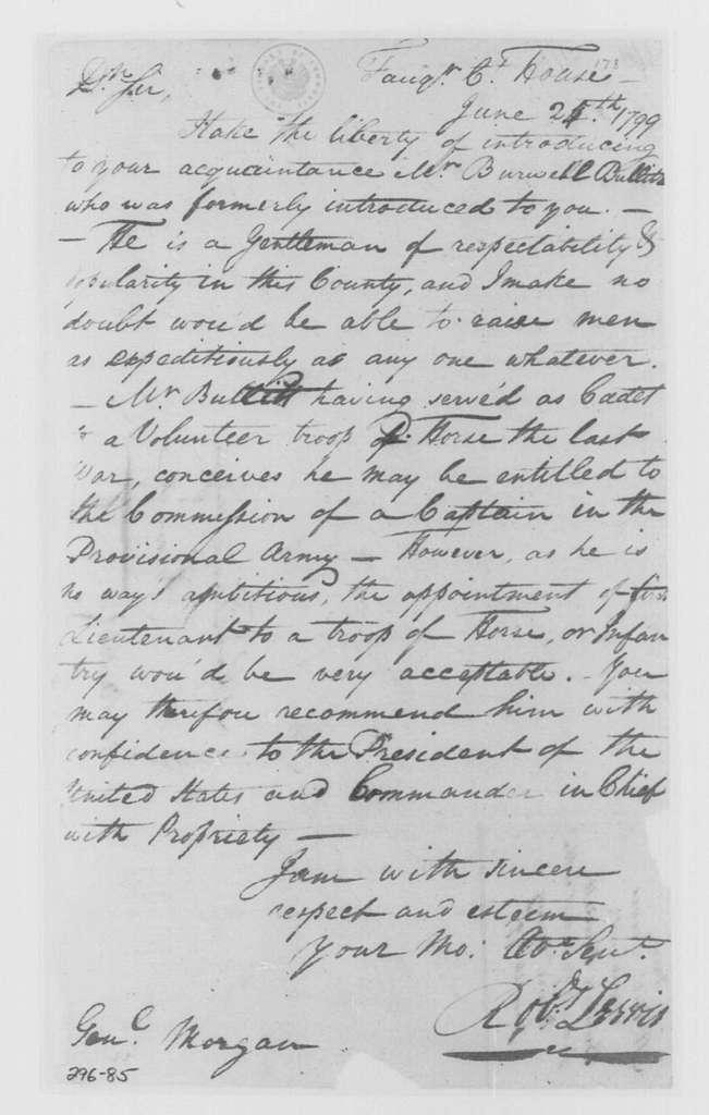 George Washington Papers, Series 4, General Correspondence: Robert Lewis to Daniel Morgan, June 24, 1799