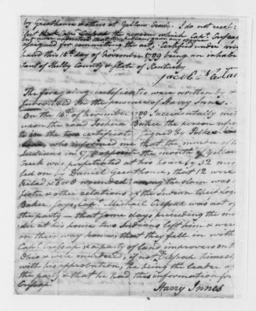 Harry Innes to Thomas Jefferson, November 15, 1799, with Certificates