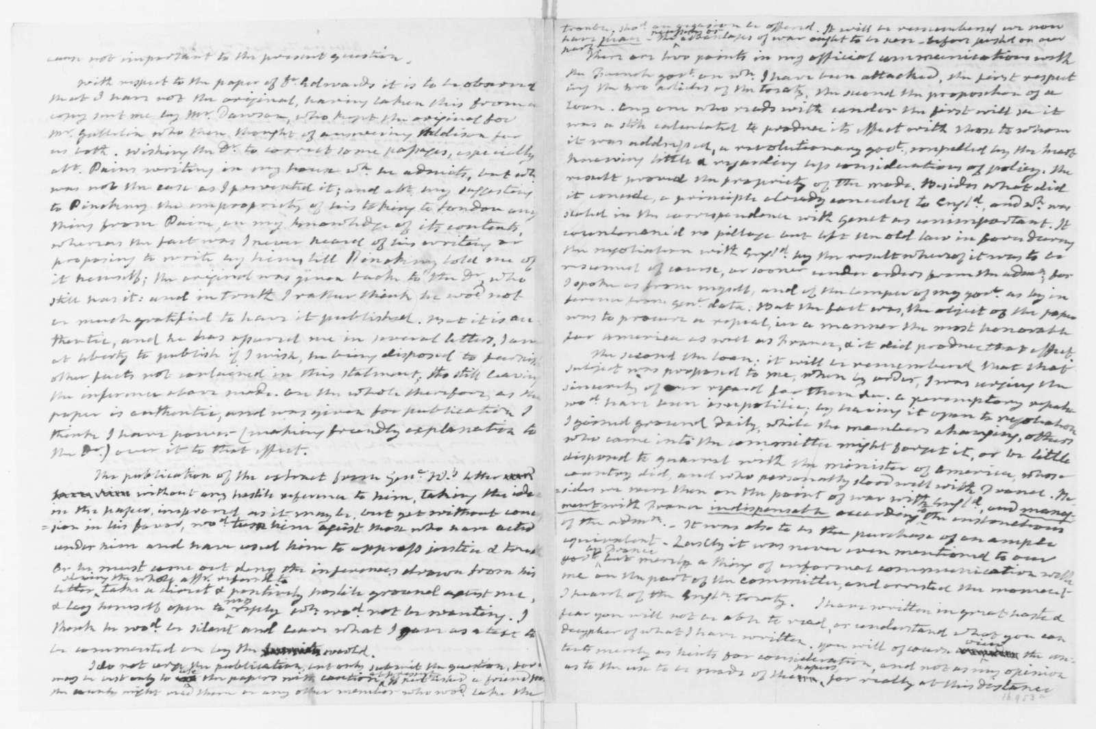 James Monroe to James Madison, December 7, 1799. Includes affidavits of Skipwith, Morris and Burling.
