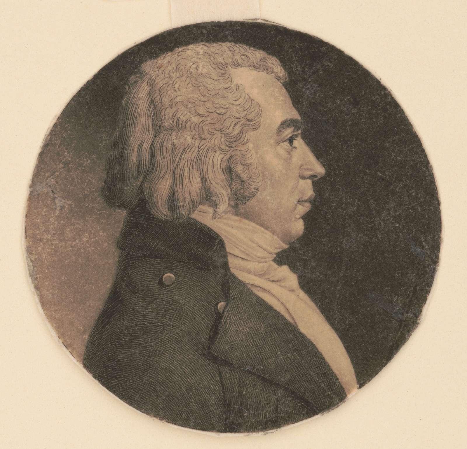 Joseph Clay, head-and-shoulders portrait, right profile