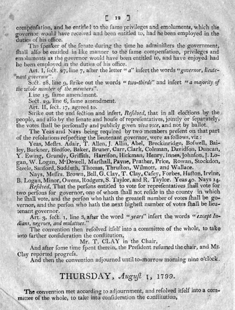 Journal of the convention, begun and held at the capitol in the town of Frankfort, on Monday the twenty-second day of July, in the year of Our Lord one thousand, seven hundred and ninety-nine