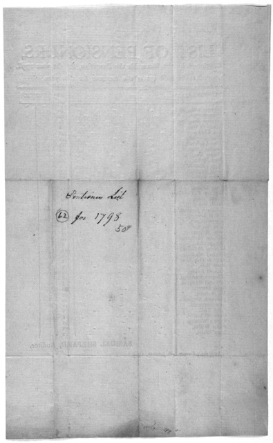 List of pensioners, continued by the Honorable the Executive, for the year 1798, to be paid out of the revenue for that year. [41 pensioners and allowances] Samuel Shepard, Auditor. Auditor's Office, 5th, January, 1799. [Richmond, 1799].