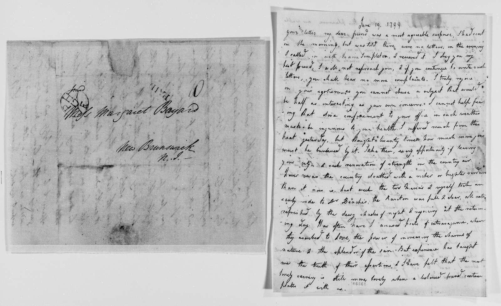 Margaret Bayard Smith Papers: Family Correspondence, 1789-1842; Smith, Samuel Harrison (husband); 1799, Feb.-July