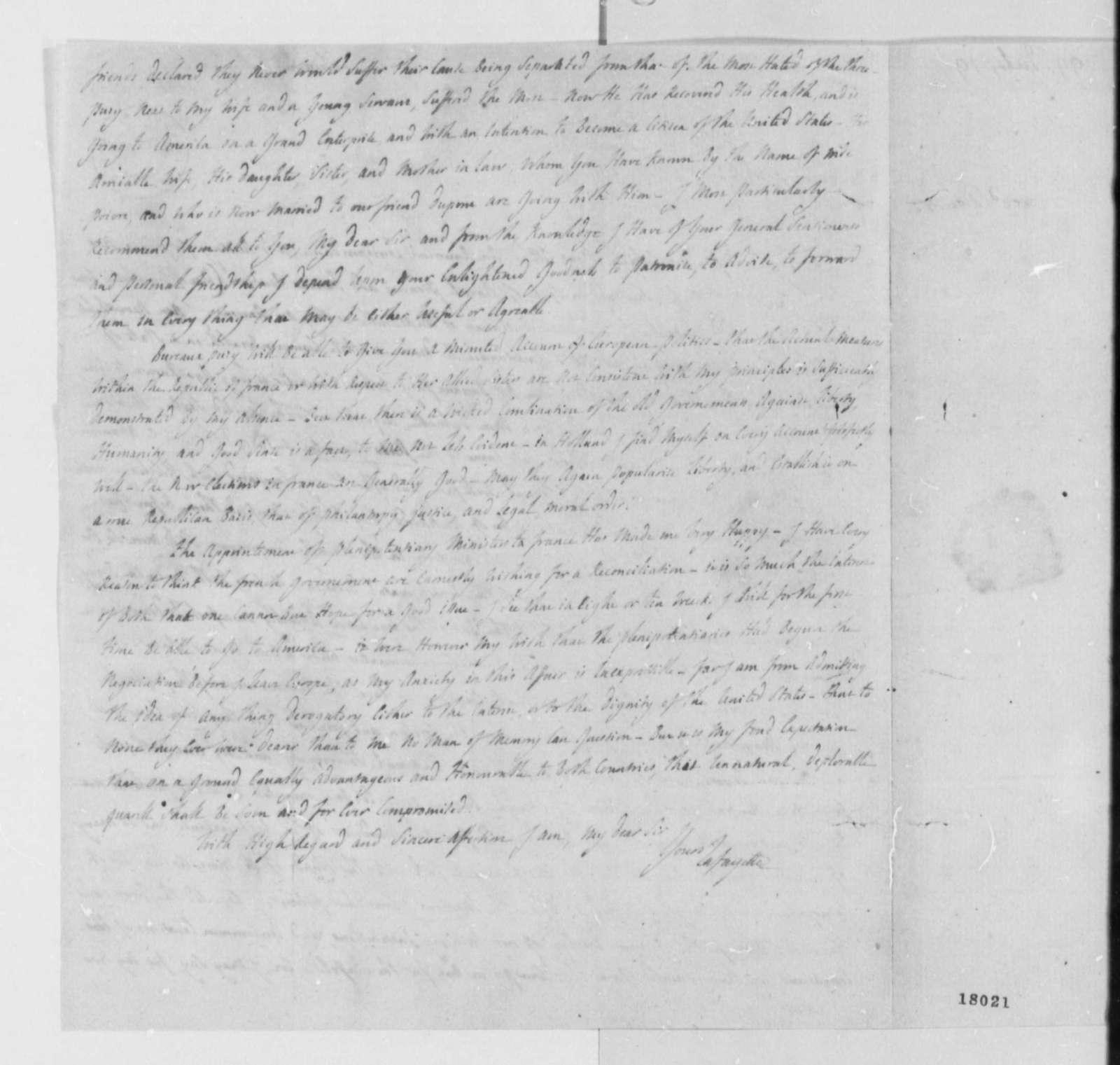 Marie Joseph Paul Yves Roch Gibert du Motier, Marquis de Lafayette to Thomas Jefferson, April 19, 1799