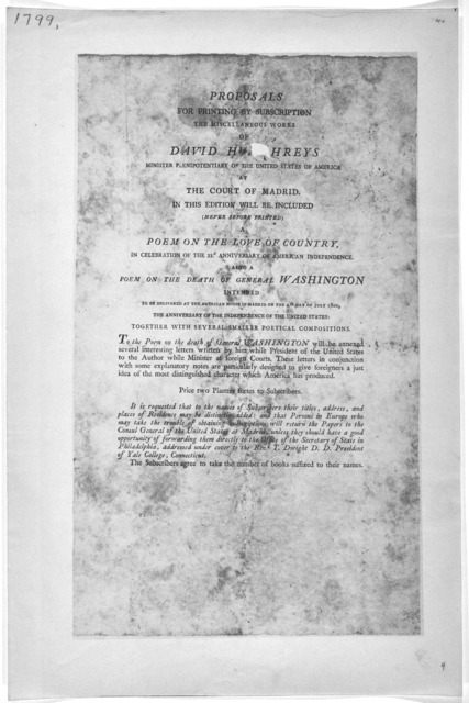 Proposals for printing by subscription the miscellaneous works of David Humphreys ... It is requested that to the names of subscribers their titles, address and places of residence may be distinctly added ... addressed under cover to the Rev.d T