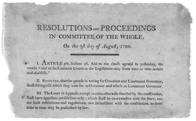 Resolutions and proceedings in committee of the whole, on the 1st day of August, 1799. [3 resolutions amending the Kentucky constitution]. [Frankfort? Kentucky 1799].