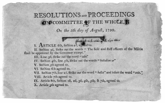 Resolutions and proceedings in committee of the whole, on the 5th day of August, 1799. [10 resolutions for amending the constitution]. [Frankfort? Kentucky 1799].